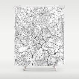Leeds Map White Shower Curtain