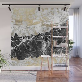Modern chic faux gold white black elegant marble Wall Mural