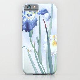 Bee And Blue Iris Flowers - Vintage Japanese Woodblock Print Art By Ohara koson iPhone Case