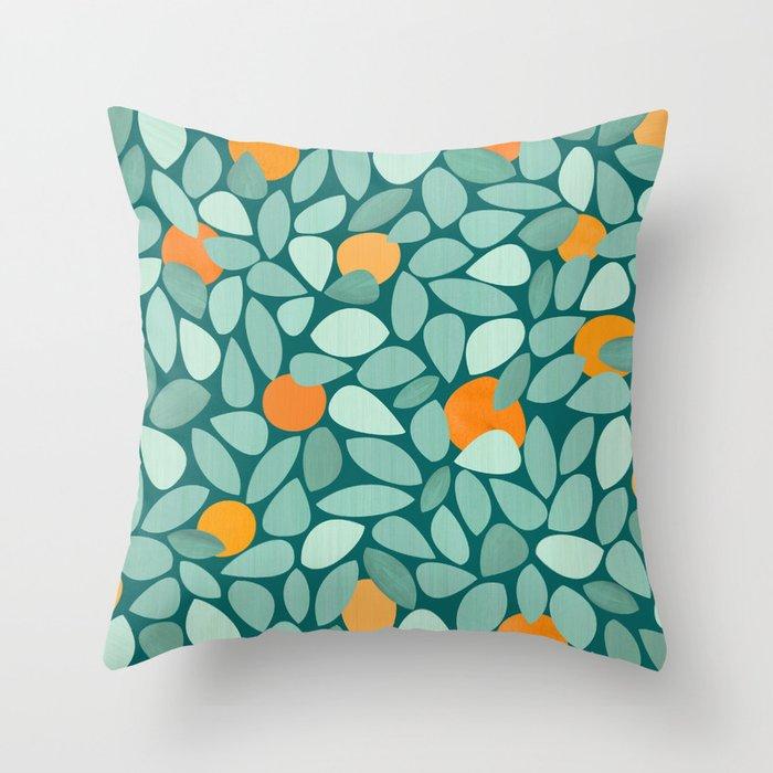Sunny Orange Grove Throw Pillow
