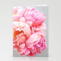 peonies Stationery Cards featuring Peonies Forever by Ez Pudewa