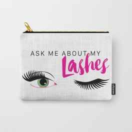 Ask Me About My Lashes - Green Eyes Carry-All Pouch