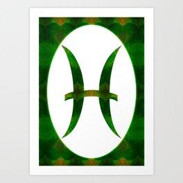 Pices Symbol And Heart Chakra Abstract Spiritual Art Art Print