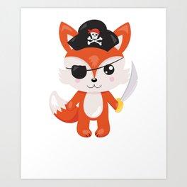 Animal Pirates Animal Pirate Fox Pirate Themed Birthday Art Print