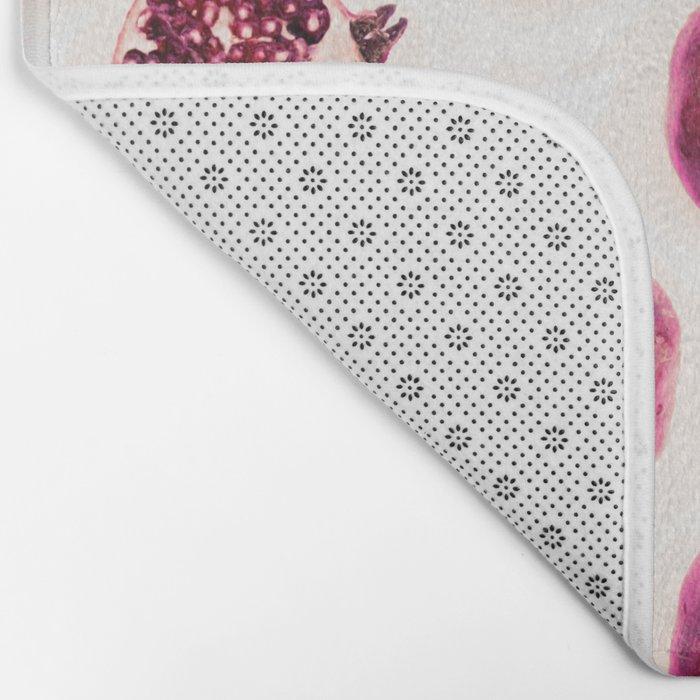 Pink Pomegranate Polka Dots Bath Mat