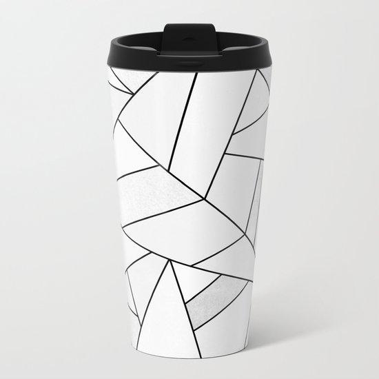 White Stone / Black Lines Metal Travel Mug
