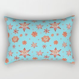Cats on flowers with sky blue background Rectangular Pillow