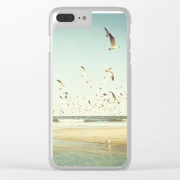 Birds on Beach Photography, Seagulls Flying Coastal Photo, Teal Bird Ocean Picture, Turquoise Aqua Clear iPhone Case