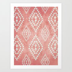 mint & coral tribal pattern (2) Art Print