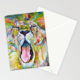 LION YAWNING Stationery Cards