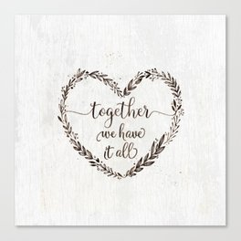 Love message in heart on old white wood texture Canvas Print