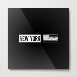 Black & White U.S. Flag: New York Metal Print