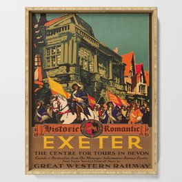 retro iconic Exeter poster Serving Tray