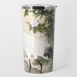 Crane and Chinese Roses Travel Mug