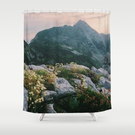 Mountain flowers at sunrise Shower Curtain