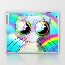 curly kawaii pet on rainbow and cloud background Laptop & iPad Skin