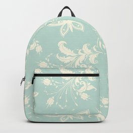 Butterfly And Floral White Light Blue Background Backpack