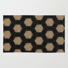 Textured Tan and Black Marble Geo Patterns Rug