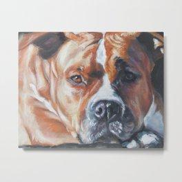 Beautiful American Staffordshire Terrier portrait by L.A.Shepard fine art painting Metal Print