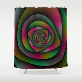Spiral Labyrinth in Green Pink and Purple Shower Curtain