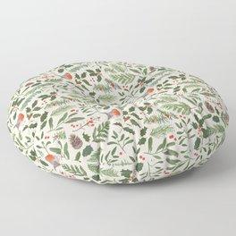Robin in a Winter Garden Floor Pillow