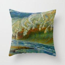 "Walter Crane ""Neptune's Horses, 1893"" Throw Pillow"