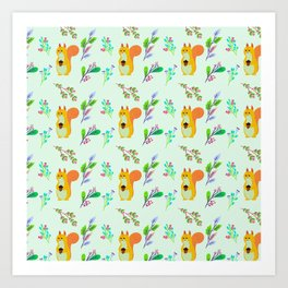 Cute hand painted yellow orange squirrel teal coral floral pattern Art Print