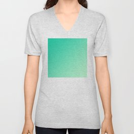 Dark Cyan Green and Light Cyan lime Green Gradient Ombré  Unisex V-Neck