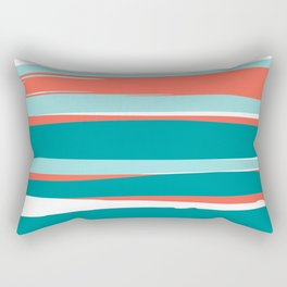Colorful Stripes, Coral, Teal and Aqua Rectangular Pillow