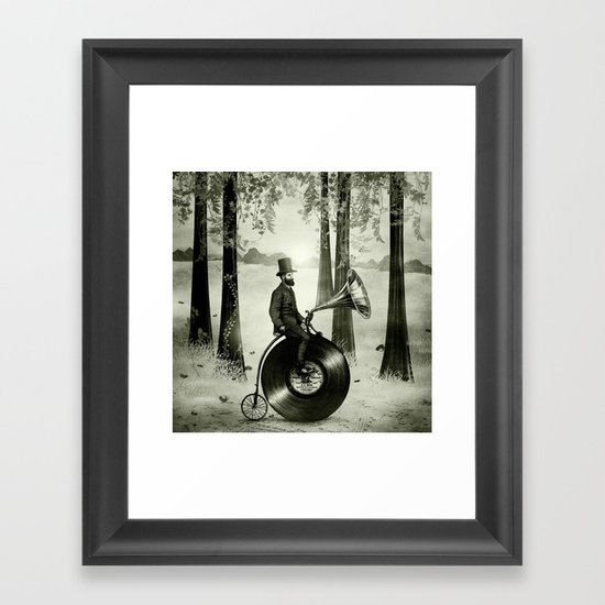 Music Man in the Forest, by Eric Fan and Viviana González Framed Art Print