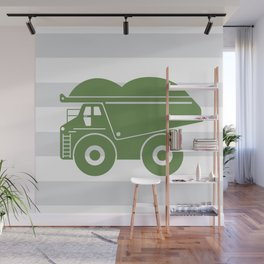 olive green dump truck Wall Mural