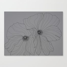 Line Drawing of Poppy Canvas Print