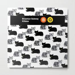Brooklyn Subway Kitten Pattern Metal Print