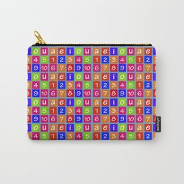 Numbers and Vowels Colorful Pattern Carry-All Pouch
