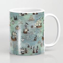 Pirate Ships Nautical Map Coffee Mug
