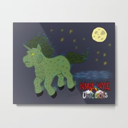 Horror Movie Unicorns: Lagoon Creature Metal Print