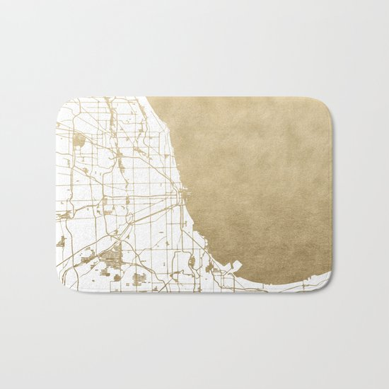 Chicago Gold and White Map Bath Mat