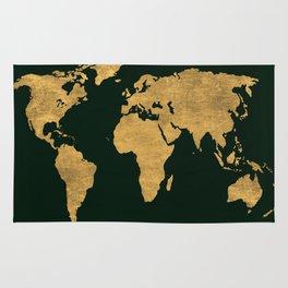 Green/Gold World Map Rug