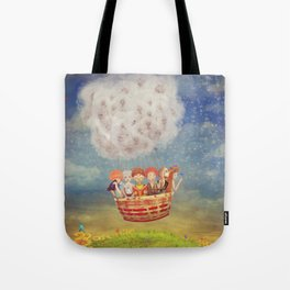 Happy children in the   air balloon in the sky - illustration art Tote Bag