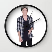 niall horan Wall Clocks featuring NIALL HORAN by Samantha Anderson