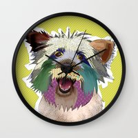 terrier Wall Clocks featuring Terrier by TiannaHarman