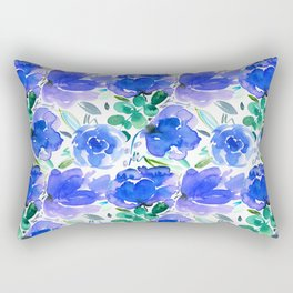 Big Blue Watercolour Painted Floral Pattern Rectangular Pillow