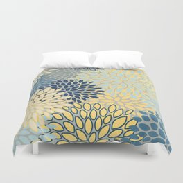Floral Print, Yellow, Gray, Blue, Teal Duvet Cover
