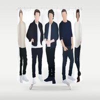 one direction Shower Curtains featuring One Direction by kikabarros