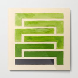 Sap Green Geometric Watercolor Painting Metal Print