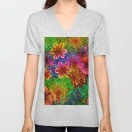 Tropical Heat-Colorful Floral Exotic Tropical Flower Pattern Unisex V-Neck