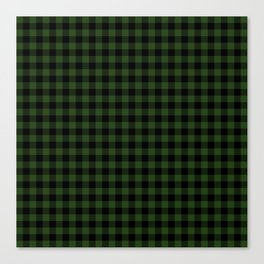 Dark Forest Green and Black Gingham Checkcom Canvas Print