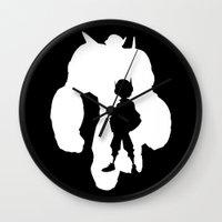 big hero 6 Wall Clocks featuring Big Hero 6 Silhouette by Travis Love