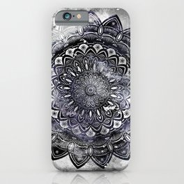 Galaxy Space Mandala (Black and White & Gray Scale) Mystical Adventurous iPhone Case