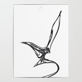 Swallow 1.Black on white background. (ZOOM) Poster
